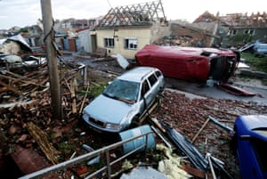 Moravska Nova Ves, Czech RepublicDebris and damaged cars are seen in the aftermath of a rare tornado that struck and destroyed parts of the town