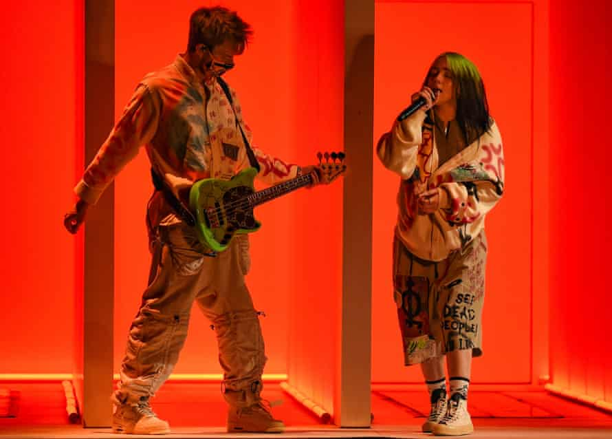 Billie Eilish and her brother, Finneas O'Connell, at the American Music Awards 2020