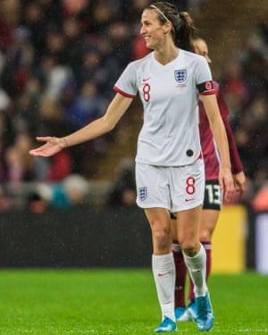 England midfielder Jill Scott, who receives an MBE.