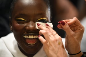 A model has her make-up done backstage ahead of the Carla Zampatti show.