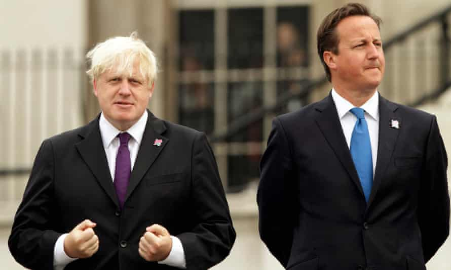 'I have never encountered a senior British politician who lies so regularly, so shamelessly' ... Oborne on Johnson, left, with David Cameron in 2012.