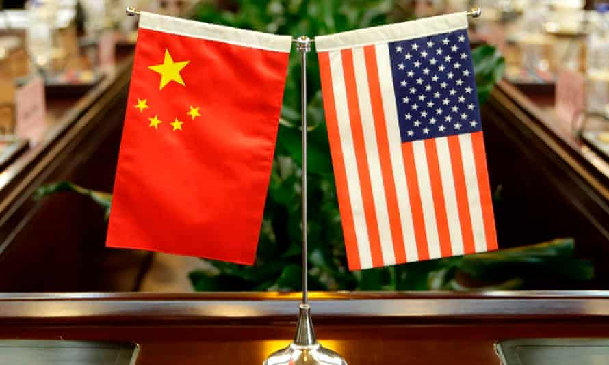 flags of the US and China