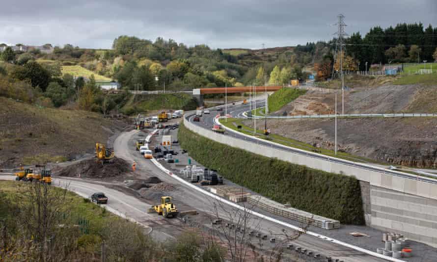 Road construction work in Brynmawr, Wales