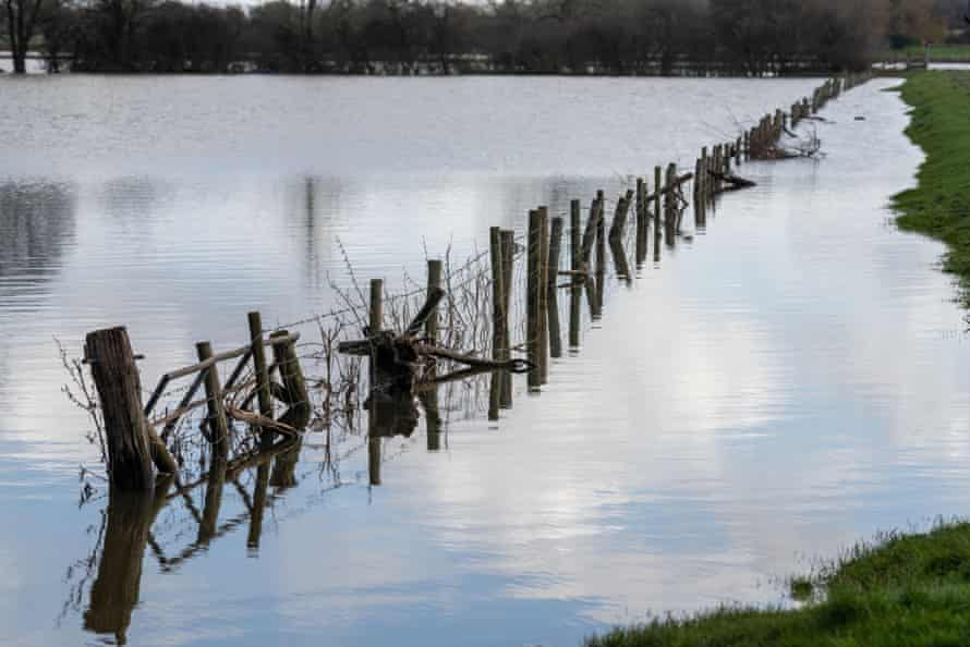 Flooded countryside near the village of Melverley, Shropshire after the River Severn burst its banks