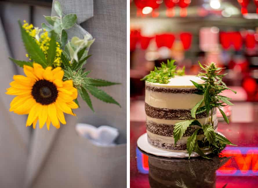 Left: Jason sported a boutonnière with a sunflower, marijuana leaves and a bud, matching Michelle's bouquet Right: Michelle and Jason's wedding featured a THC-infused cake made with marijuana concentrate. Each slice contained 5mg of THC.