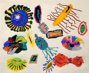 """In the new Open Kids group, a drawing of """"The Mysterious Microbes"""" by Ethan Lin from South Grove Elementary School in Syosset, NY won 1st place"""