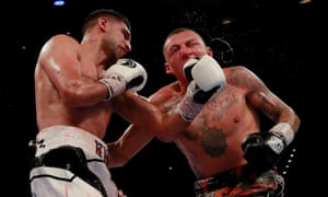 Amir Khan lands a punch on Samuel Vargas during his unanimous points win in Birmingham.