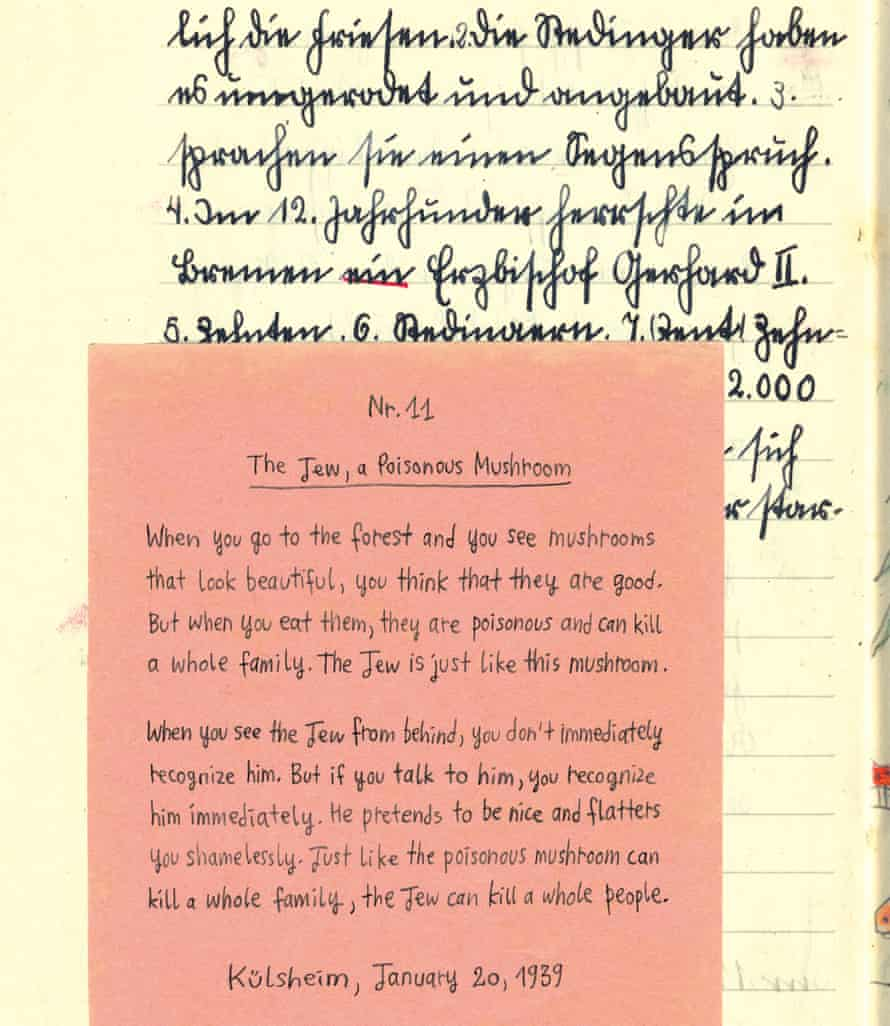 A page from Heimat: A German Family Album, showing a translation of Nora Krug's uncle's antisemitic 1939 school essay, and the original document.