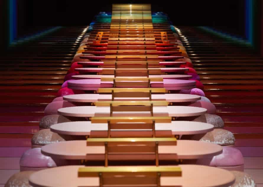 Kaechele's giant rainbow-coloured glockenspiel and dining table.