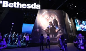 Attendees visit the Bethesda exhibit at E3.