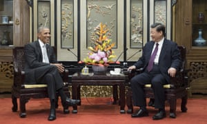 Former US President Barack Obama meets with Chinese President Xi Jinping at the Diaoyutai State Guesthouse in Beijing.