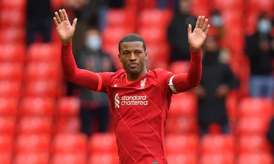 Georginio Wijnaldum salutes the applauding Liverpool fans in his last game in red at Anfield.