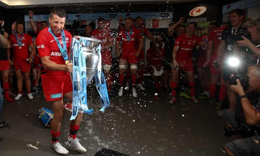 Saracens celebrate winning the Premiership title in June.