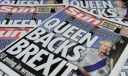 The Sun's controversial 'Queen backs Brexit' edition.