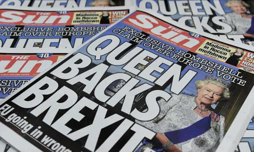 Sun front page on Queen backing Brexit