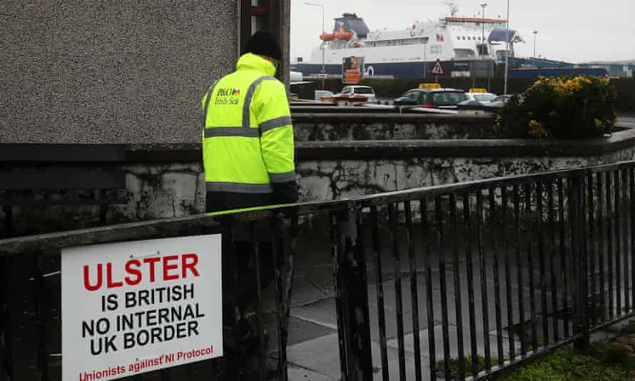 An anti-protocol sign near the entrance to Larne port in Northern Ireland