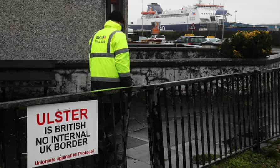 An anti-Brexit sign near the entrance to Larne port, Northern Ireland