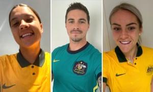 Socceroo Jamie MaClaren poses in the away strip while Sam Kerr and Ellie Carpenter showcase the new Matildas home kit.