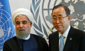 Ban Ki-moon pictured with Hassan Rouhani at the UN headquarters in September.