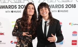 Amy Shark, who won album of the year, and Courtney Barnett, who won best rock album, at the 2018 Aria awards