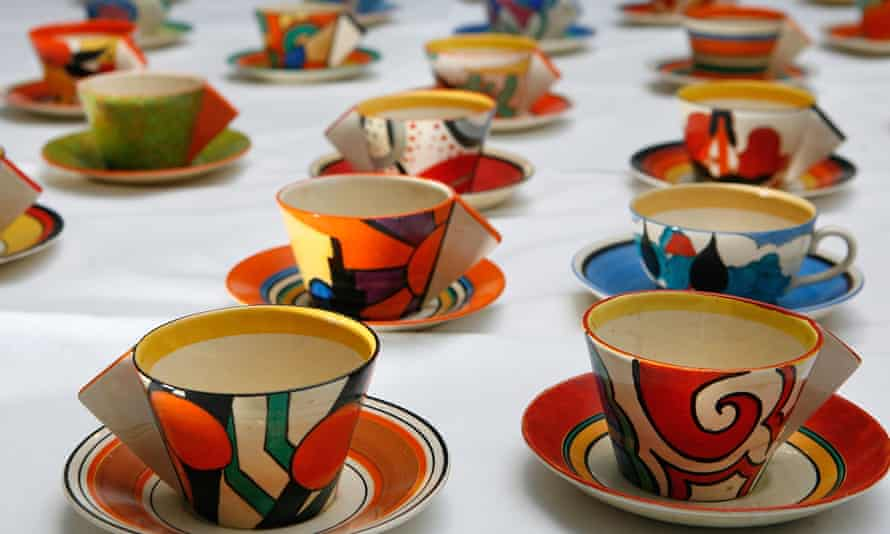 Teacups designed by Clarice Cliff