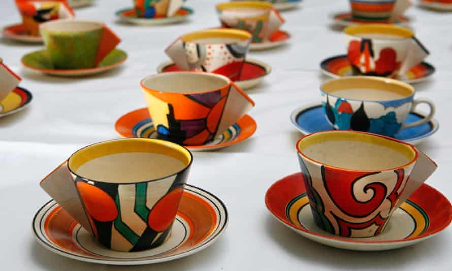 Teacups designed by Clarice Cliff sold at Bonhams, London, in 2008.