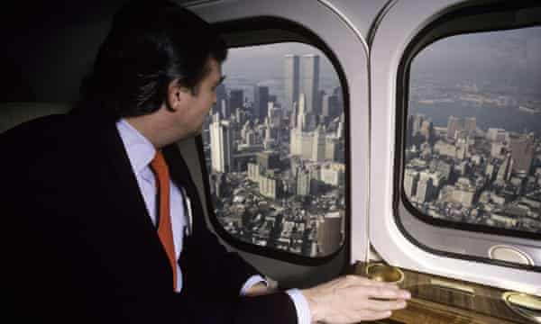 Donald Trump in his personal helicopter in 1987.