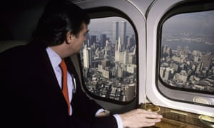 Donald Trump looks down from his personal helicopter in 1987 on Manhattan, where he had always dreamed of expanding his property empire.