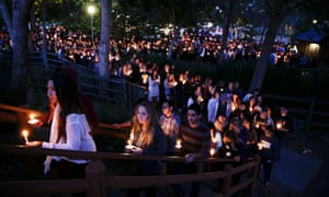 A candlelight vigil to honor the victims of the stabbing and shooting in Isla Vista, California, when 22-year-old Elliot Rodger killed six near the University of California, Santa Barbara.