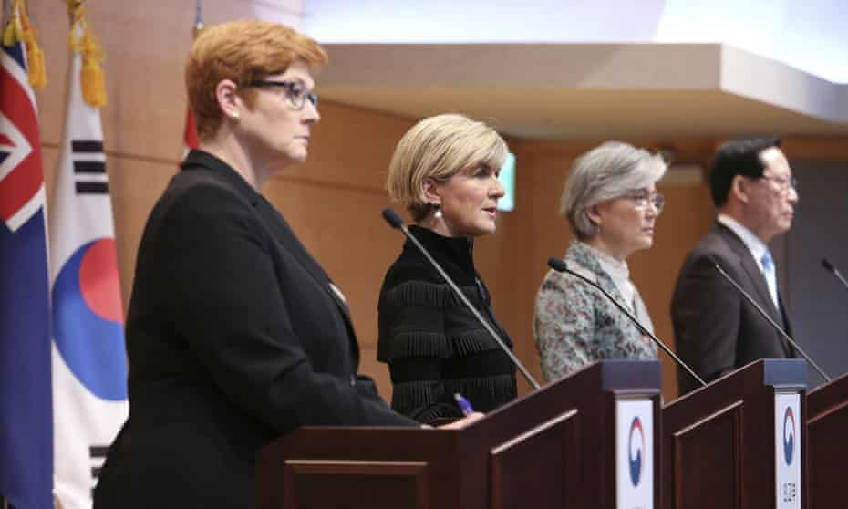 Australian defence minister Marise Payne, foreign affairs minister Julie Bishop, South Korean foreign affairs minister Kang Kyung-wha and defence minister Song Young-moo in Seoul, South Korea on Friday during a diplomat visit.