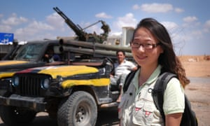 Yuan Wenyi, the chief international correspondent for Shanghai's Oriental TV, in eastern Libya.