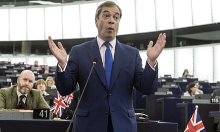 Nigel Farage delivers a speech in the European parliament