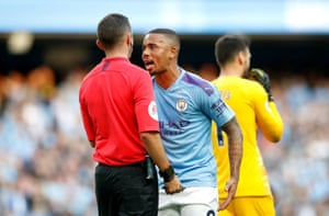 Manchester City's Gabriel Jesus appeals to the match referee Michael Oliver after his goal is ruled out by VAR and that the shot from Jesus had been preceded by a handball from Aymeric Laporte.