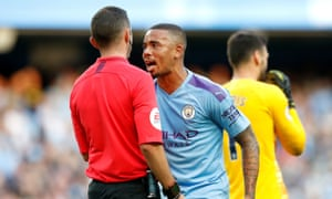 Manchester City's Gabriel Jesus appeals to the match referee Michael Oliver after his goal is ruled out.