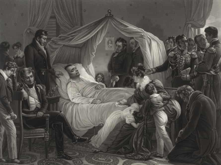 Napoleon on his deathbed, surrounded by friends, aquatint by Jean Pierre Marie Jazet based on a painting by Karl von Steuben.