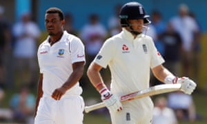 West Indies' Shannon Gabriel and Joe Root have exchanged words in the third Test.