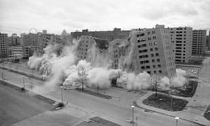 Part of the Pruitt-Igoe public housing development in St. Louis, Missouri, being demolished by dynamite charges in 1972.