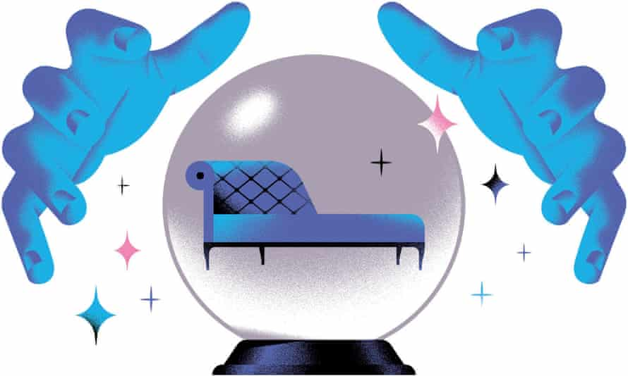 Illustration of pair of hands and couch in crystal ball