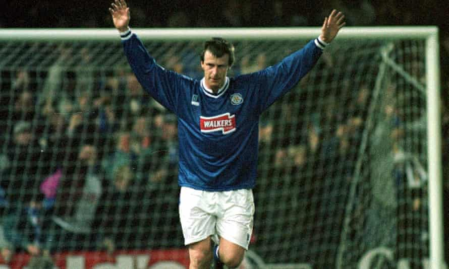 Steve Claridge celebrates after giving Leicester the lead against Manchester United in a 1996-97 Coca-Cola Cup tie.