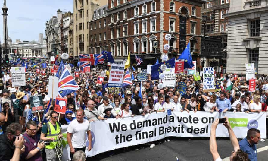 Tens of thousands of people march through London during a demonstration in London on 23 June.