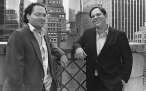 From left to right, American film producers Bob Weinstein and his brother Harvey Weinstein of Miramax Films, New York City, 21st April 1989
