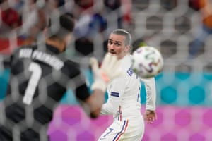 France's Antoine Griezmann is thwarted by Portugal's keeper Rui Patricio.