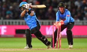 Worcestershire Rapids' Brett D'Oliveira is stumped by Sussex Sharks' Michael Burgess.