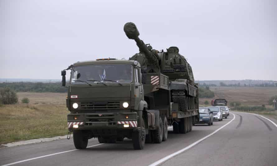 A Russian military truck about six miles from the Russia-Ukrainian border control point in Donetsk, in August 2014.