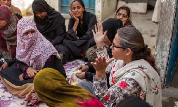 Khan speaks to members of the women's federation