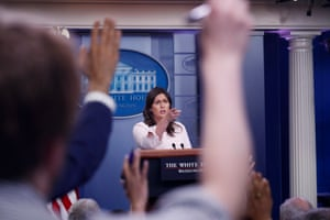 The White House press secretary, Sarah Sanders, during the daily press briefing.