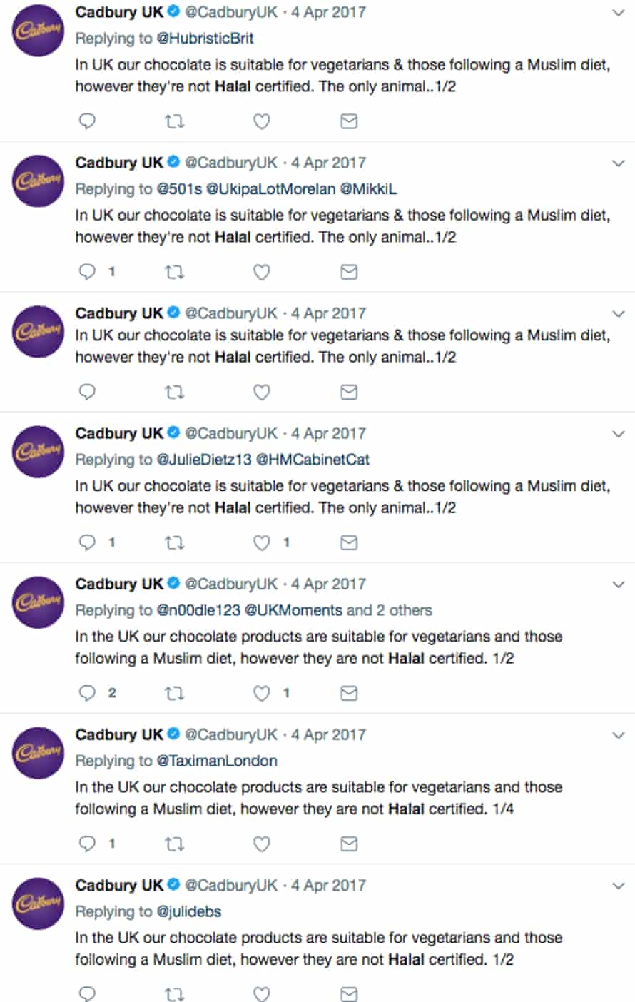 The Cadbury UK social media team responding to questions about halal Easter eggs on a particularly busy day for them in 2017