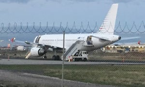 A Skytraders plane used to forcibly deport Sri Lankan asylum seekers from Australia on Tuesday.