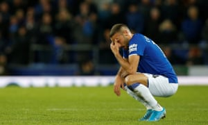 Everton's goalscorer Cenk Tosun reacts at the end of an emotional contest.