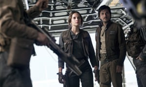 Felicity Jones and Diego Luna as Rebel fighters Jyn Erso and Cassian Andor in Rogue One: A Star Wars Story